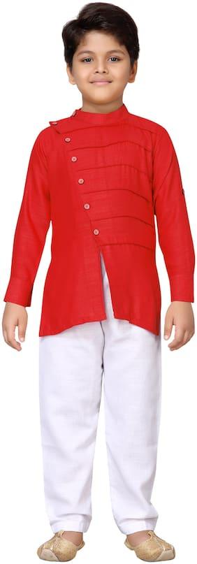 Aj Dezines Boy Cotton Solid Kurta pyjama set - Red & White