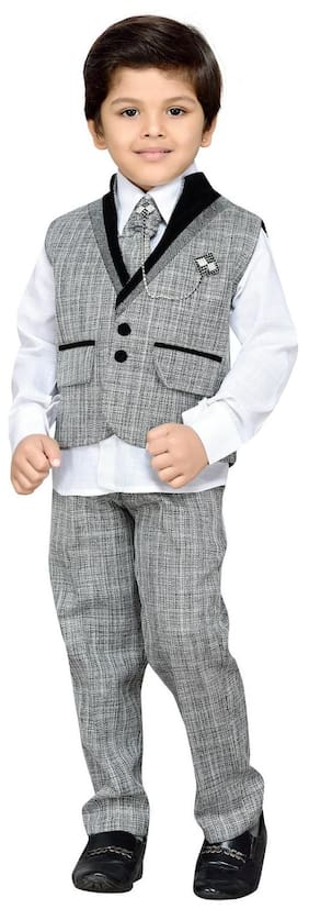 Aj Dezines Boy Cotton Checked Kurta Pyjama Set - Grey