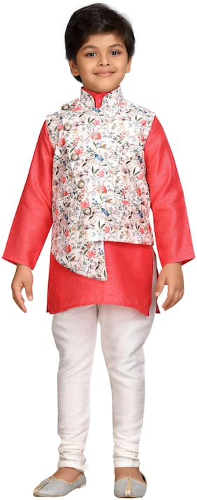 Aj Dezines Boy Cotton blend Printed Kurta pyjama set - Pink
