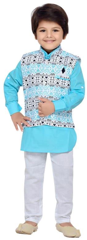 Aj Dezines Baby boy Cotton Printed Kurta pyjama set - Blue