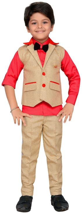 AJ Dezines Kids Party Wear Waistcoat Suit Set for Boys