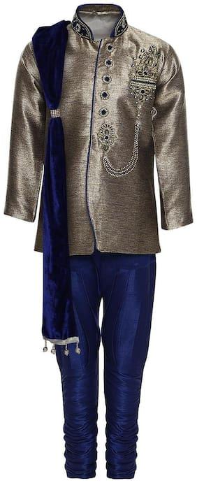 Aj Dezines Boy Cotton Solid Sherwani - Blue