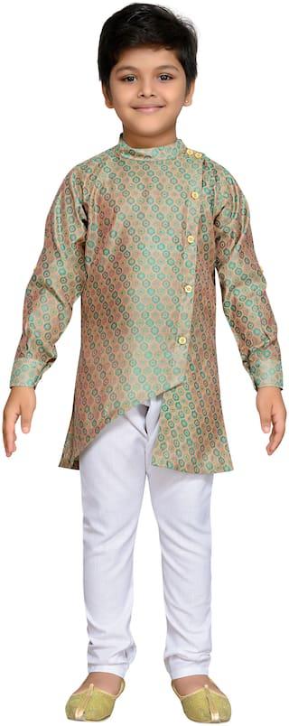 Aj Dezines Baby boy Cotton blend Printed Kurta pyjama set - Green