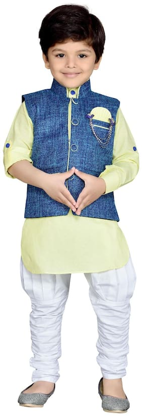 Aj Dezines Baby boy Cotton Solid Kurta pyjama set - Yellow
