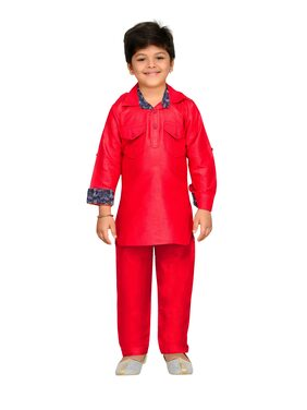 Aj Dezines Baby Boy Cotton Solid Kurta Pyjama Set - Red