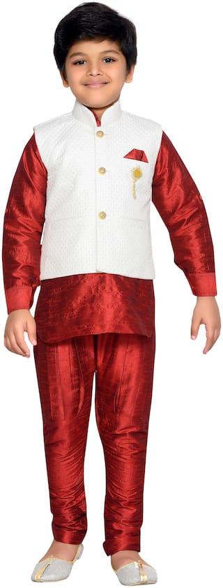 Aj Dezines Baby boy Silk blend Solid Kurta pyjama set - Maroon