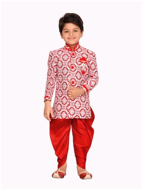 Aj Dezines Boy Jute silk Printed Sherwani - Red