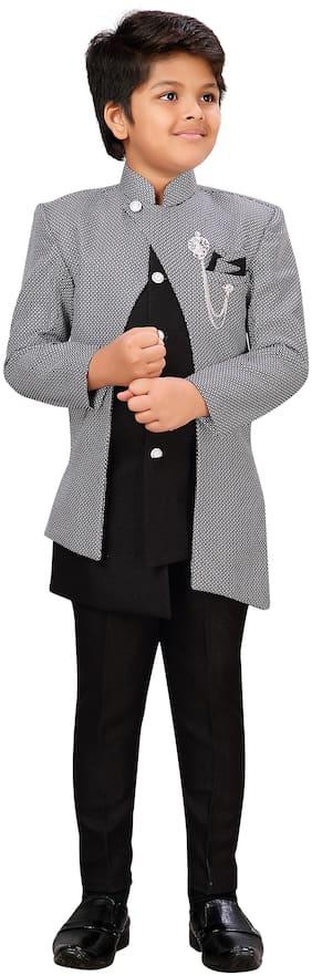 Aj Dezines Boy Cotton blend Printed Sherwani - Black