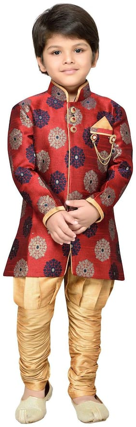 Aj Dezines Boy Silk blend Printed Sherwani - Red