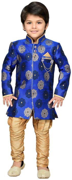 Aj Dezines Boy Silk blend Printed Sherwani - Blue