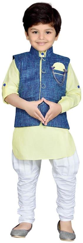 Aj Dezines Boy Cotton Solid Kurta pyjama set - Yellow