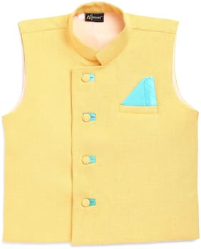 AJ Dezzines Yellow Coloured Ethnic Waistcoat for Boys
