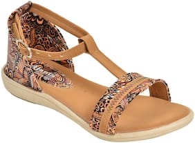 Ajanta Kid's Sandals For Girls - Tan