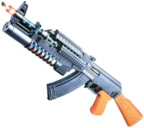 Shanaya AK 74 Gun with Flashing Lights & Sound Toy for Kids - Multicolor