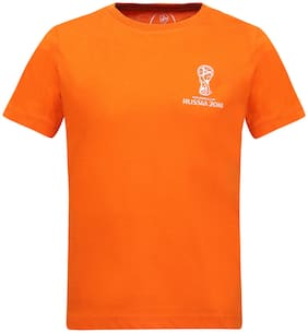 Alcis Boy Cotton Solid T-shirt - Orange