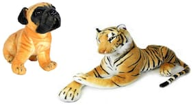 Alexus Soft Toy Tiger And Pug Dog