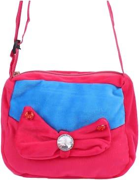 Aliado Faux Fur Pink and Blue Coloured Zipper Closure Sling Bag For Kids