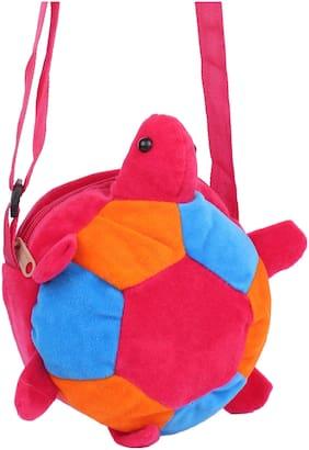 Aliado Faux Fur Pink, Orange and Blue Coloured Zipper Closure Sling Bag For Kids