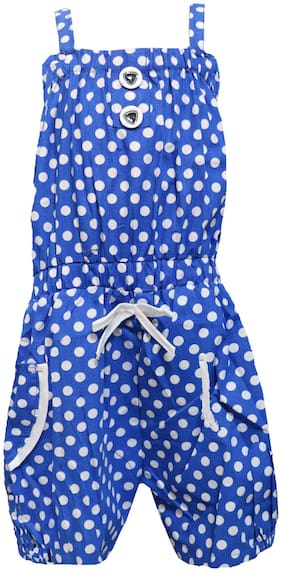 All About Pinks Cotton Printed Dungaree For Girl - Blue