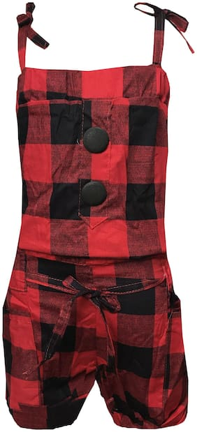 All About Pinks Cotton Printed Dungaree For Girl - Red & Black