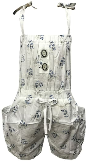 All About Pinks Cotton Printed Dungaree For Girl - White