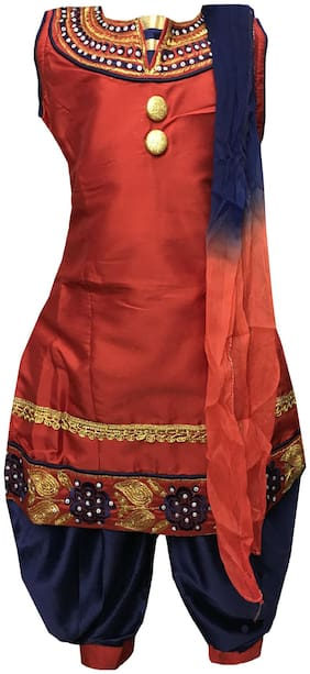 All About Pinks Girl's Art silk Embellished Sleeveless Kurti & salwar set - Red