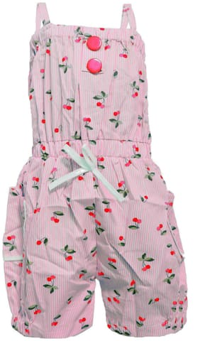All About Pinks Cotton Printed Dungaree For Girl - Multi