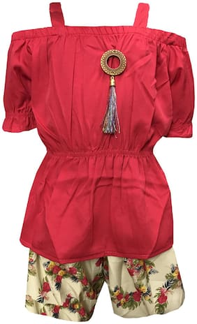 All About Pinks Polyester Printed Romper For Girl - Red