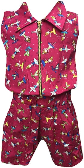 All About Pinks Cotton Printed Dungaree For Girl - Pink