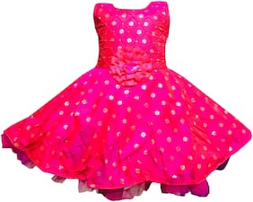 All About Pinks Baby girl Silk Printed Princess frock - Pink