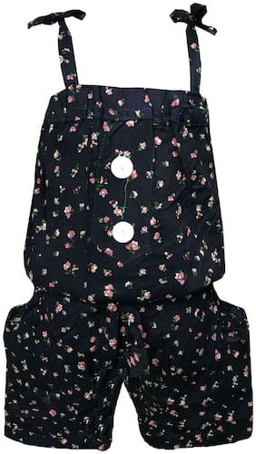 All About Pinks Cotton Printed Romper For Girl - Black