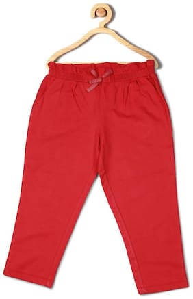 Allen Solly Girl Cotton Trousers - Red