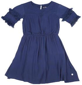 Allen Solly Blue Viscose Short Sleeves Knee Length Princess Frock ( Pack of 1 )