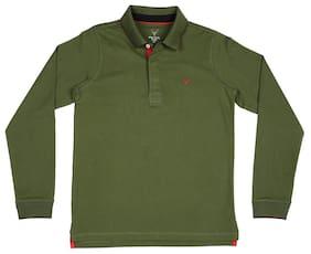 Allen Solly Boy Cotton Solid T-shirt - Green