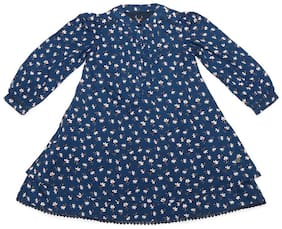 Allen Solly Blue Cotton 3/4th Sleeves Knee Length Princess Frock ( Pack of 1 )