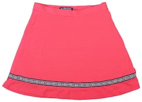 Allen Solly Girl Cotton Solid A- line skirt - Red