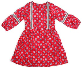 Allen Solly Red Polyester Full Sleeves Knee Length Princess Frock ( Pack of 1 )
