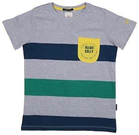 Allen Solly Boy Cotton Striped T-shirt - Grey
