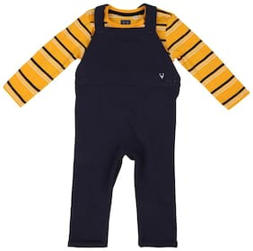 Allen Solly Baby boy Cotton Solid Jumpsuit - Blue & Yellow