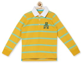Allen Solly Boy Blended Striped T-shirt - Yellow