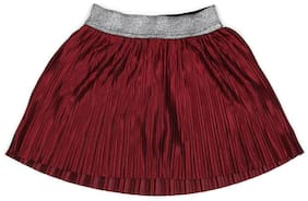 Allen Solly Girl Cotton Solid A- line skirt - Maroon