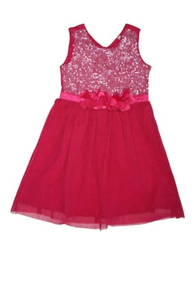 Allen Solly Girl Polyester Solid Frock - Pink