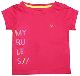 Allen Solly Girl Poly cotton Printed T shirt - Pink