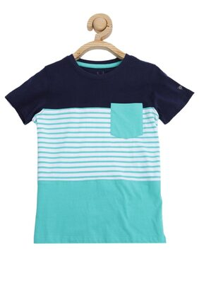 Allen Solly Boy Blended Striped T-shirt - Blue