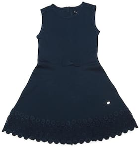 Allen Solly Girl Poly Cotton Solid Frock - Blue
