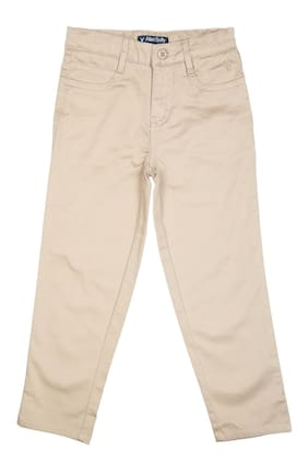Allen Solly Boy Solid Trousers - Beige