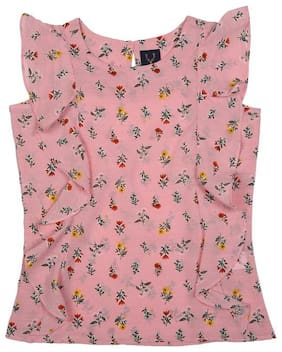 Allen Solly Girl Polyester Printed Top - Pink