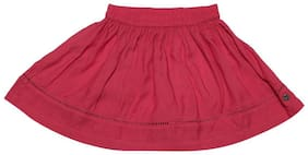 Allen Solly Girl Cotton Solid A- line skirt - Pink