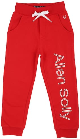 Allen Solly Boy Cotton Track pants - Red