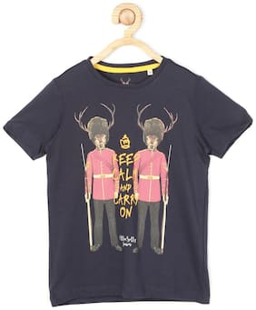 Allen Solly Boy Cotton Printed T-shirt - Black